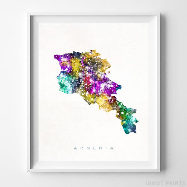 Armenia Watercolor Map Print Wall Art Poster by Inkist Prints