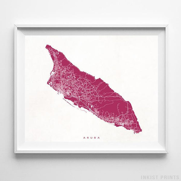 Aruba, Caribbean Island Street Map Horizontal Print-Poster-Wall_Art-Home_Decor-Inkist_Prints