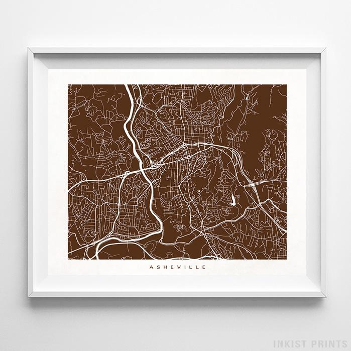 Asheville, North Carolina Street Map Horizontal Print-Poster-Wall_Art-Home_Decor-Inkist_Prints