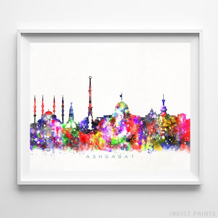 Ashgabat, Turkmenistan Skyline Watercolor Print-Poster-Wall_Art-Home_Decor-Inkist_Prints