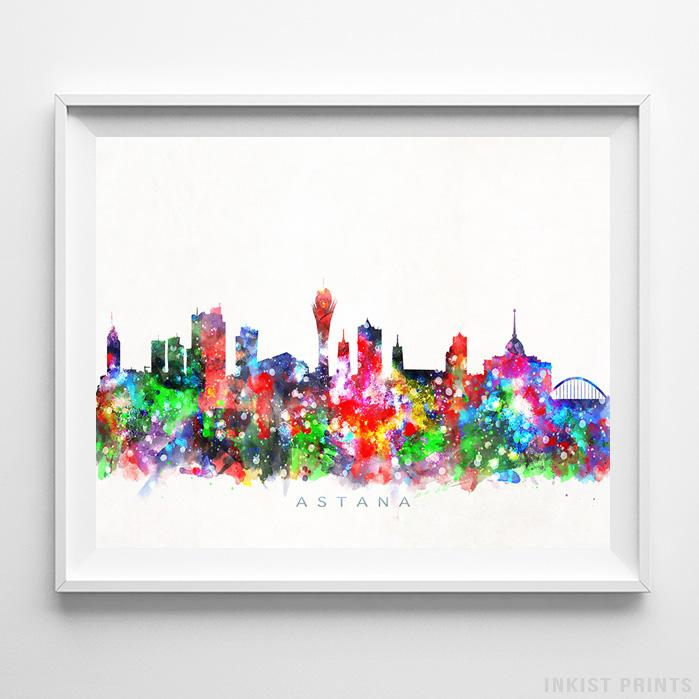 Astana, Kazakhstan Skyline Watercolor Print - Inkist Prints