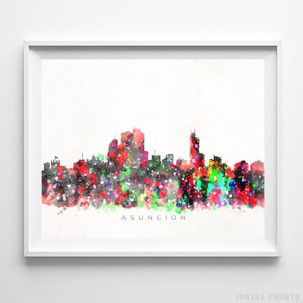 Asuncion, Paraguay Skyline Watercolor Print Wall Art Poster by Inkist Prints
