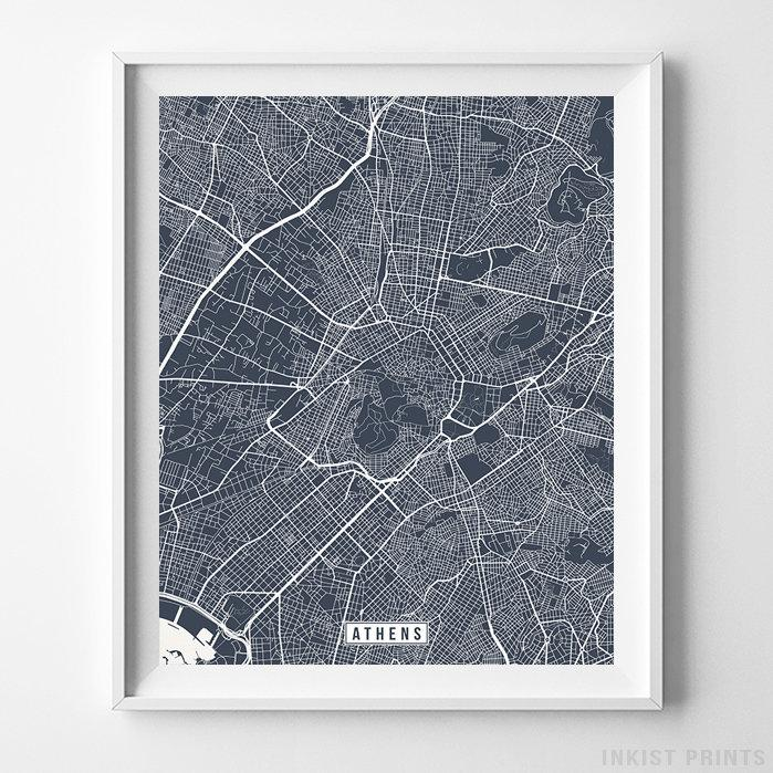 Athens, Greece Street Map Vertical Print-Poster-Wall_Art-Home_Decor-Inkist_Prints