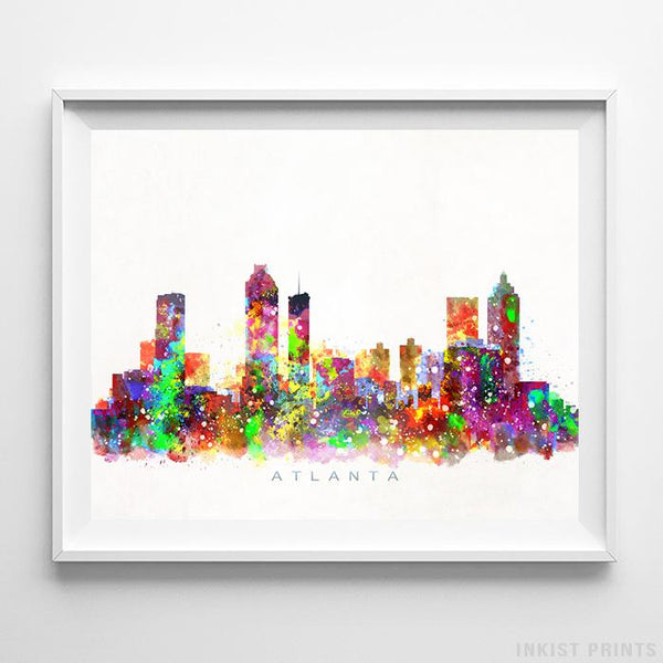 Atlanta, Georgia Skyline Watercolor Print Wall Art Poster by Inkist Prints