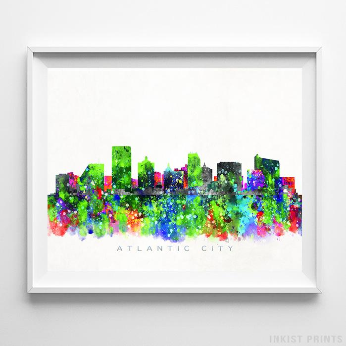 Atlantic City, New Jersey Skyline Watercolor Print-Poster-Wall_Art-Home_Decor-Inkist_Prints