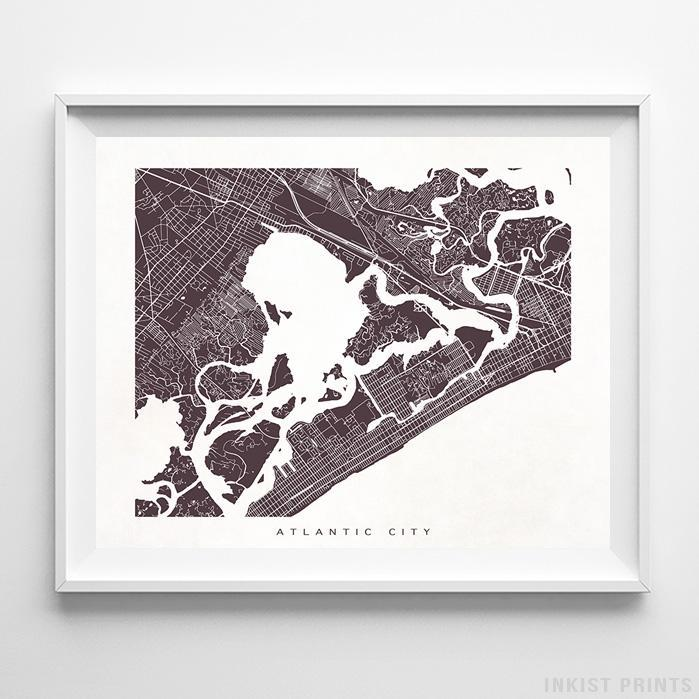 Atlantic City, New Jersey Street Map Horizontal Print-Poster-Wall_Art-Home_Decor-Inkist_Prints