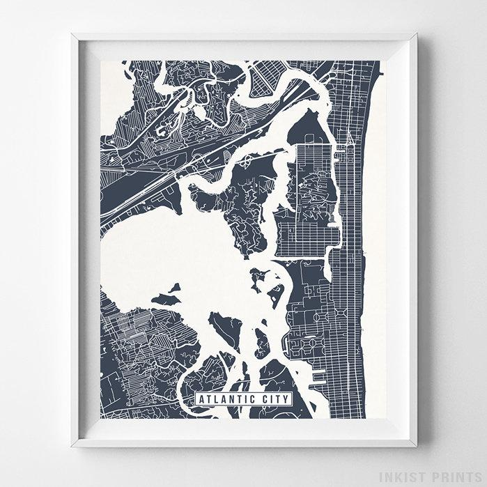 Atlantic City, New Jersey Street Map Vertical Print-Poster-Wall_Art-Home_Decor-Inkist_Prints