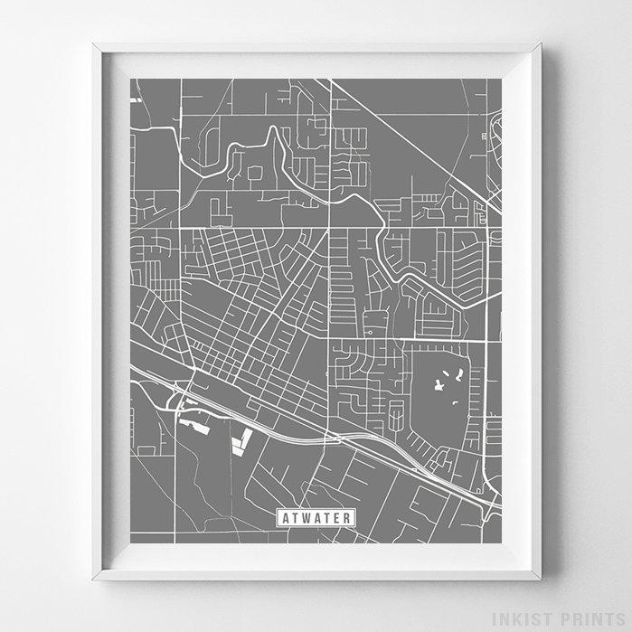 Atwater, California Street Map Vertical Print-Poster-Wall_Art-Home_Decor-Inkist_Prints