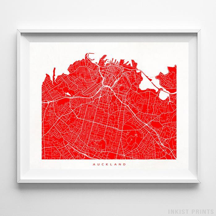 Auckland, New Zealand Street Map Print Poster - Inkist Prints