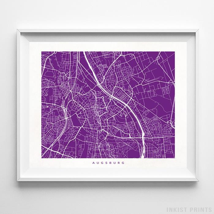 Augsburg, Germany Street Map Print Poster - Inkist Prints