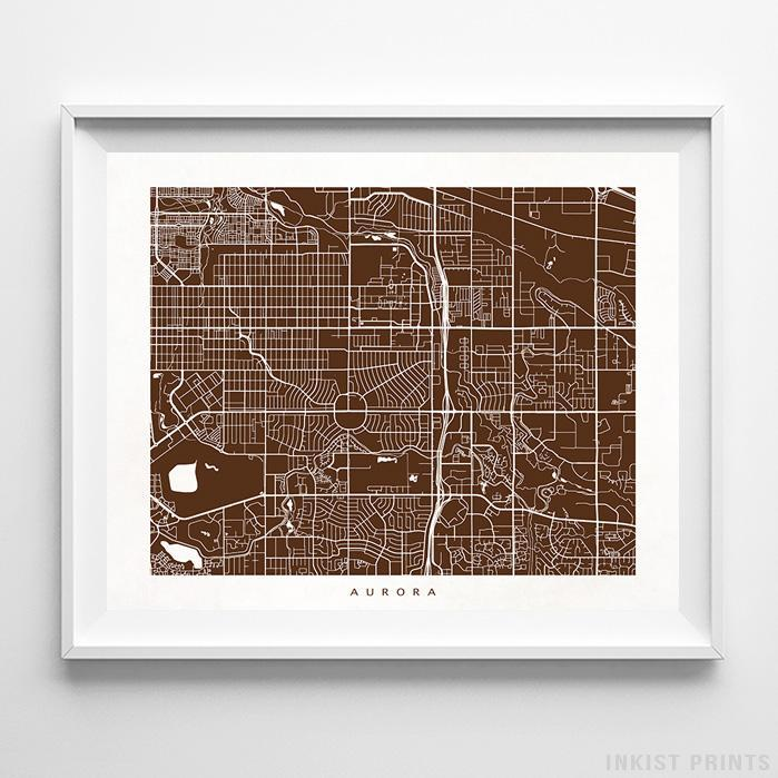 Aurora, Colorado Street Map Horizontal Print-Poster-Wall_Art-Home_Decor-Inkist_Prints
