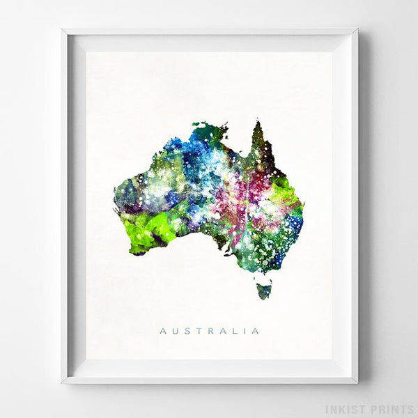 Australia Watercolor Map Print-Poster-Wall_Art-Home_Decor-Inkist_Prints