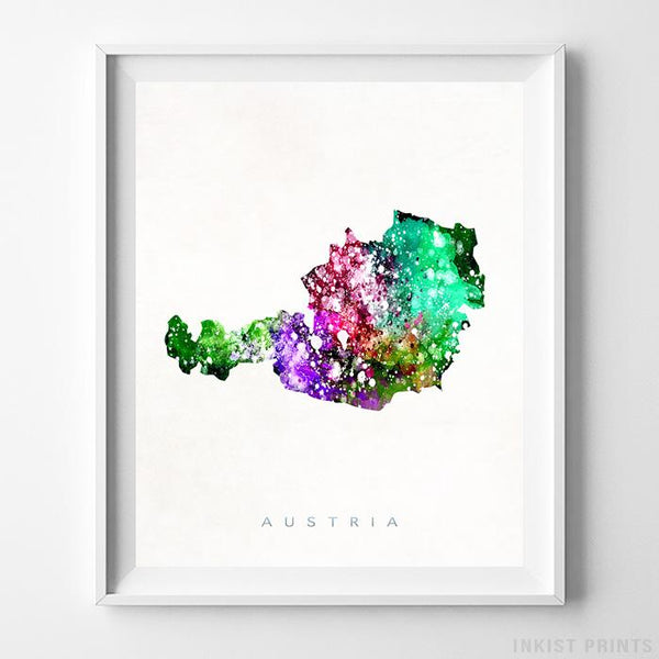 Austria Watercolor Map Print - Inkist Prints