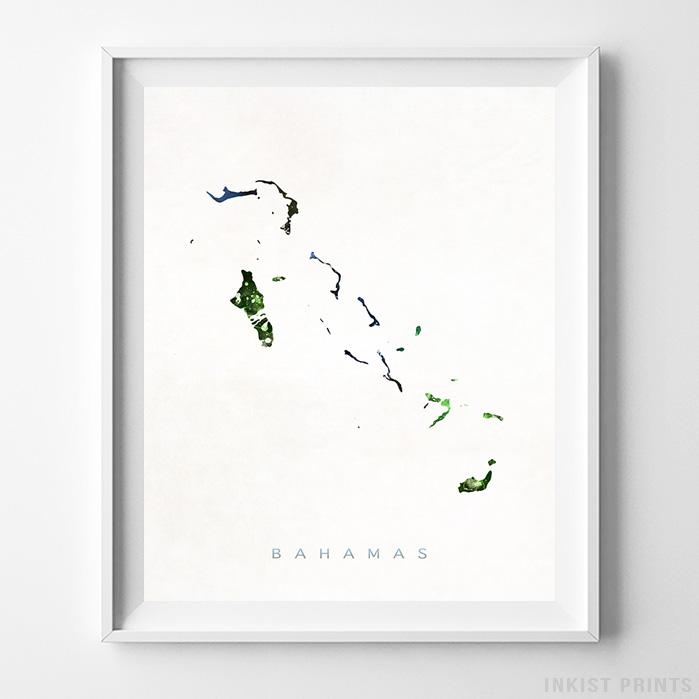 Bahamas Watercolor Map Print-Poster-Wall_Art-Home_Decor-Inkist_Prints