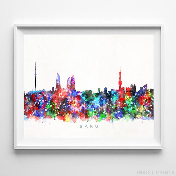 Baku, Azerbaijan Skyline Watercolor Print-Poster-Wall_Art-Home_Decor-Inkist_Prints