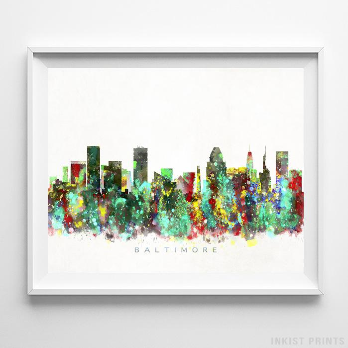 Baltimore, Maryland Skyline Watercolor Print - Inkist Prints