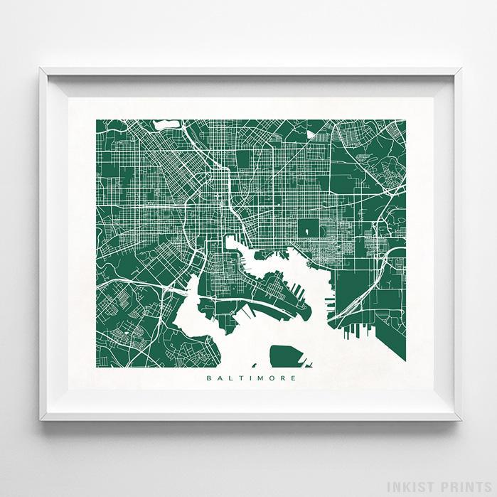 Baltimore, Maryland Street Map Horizontal Print-Poster-Wall_Art-Home_Decor-Inkist_Prints