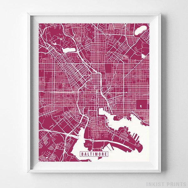 Baltimore, Maryland Street Map Vertical Print-Poster-Wall_Art-Home_Decor-Inkist_Prints