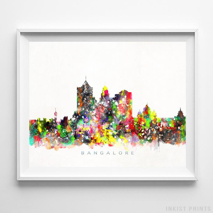 Bangalore, India Skyline Watercolor Print - Inkist Prints