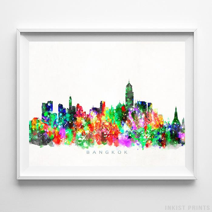 Bangkok, Thailand Skyline Watercolor Print - Inkist Prints