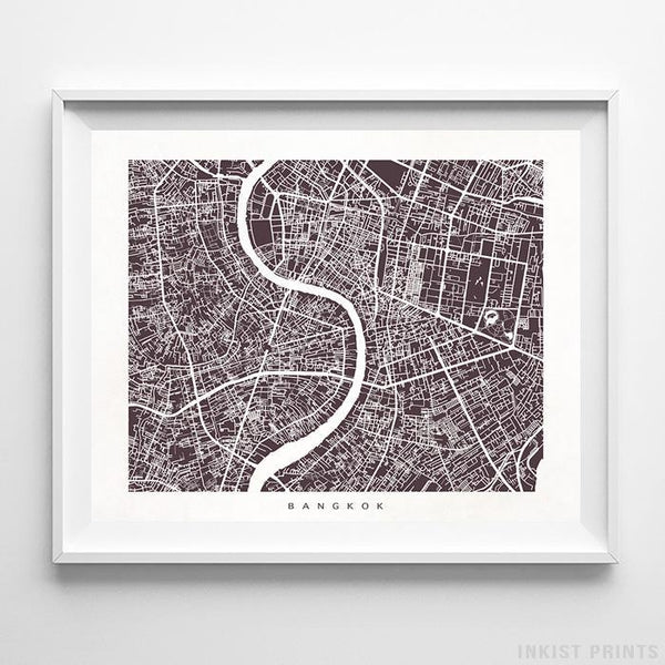 Bangkok, Thailand Street Map Horizontal Print-Poster-Wall_Art-Home_Decor-Inkist_Prints