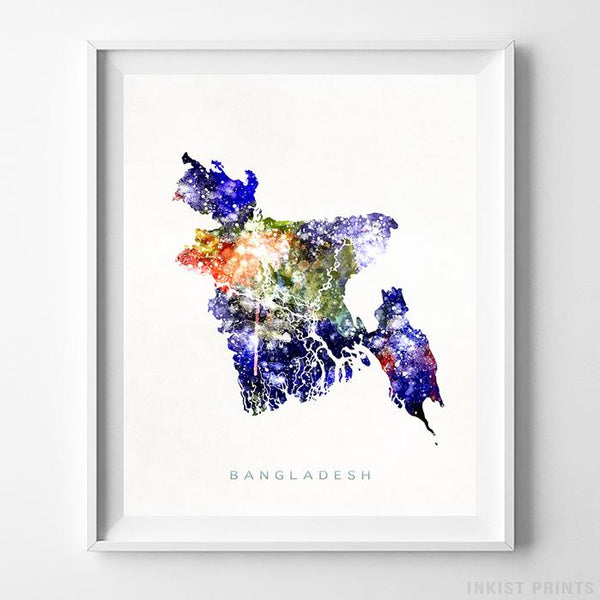 Bangladesh Watercolor Map Print-Poster-Wall_Art-Home_Decor-Inkist_Prints