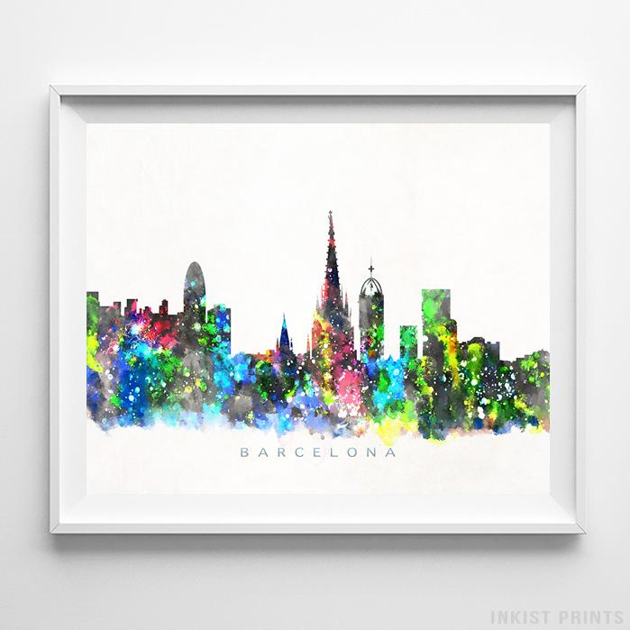 Barcelona, Spain Skyline Watercolor Print Wall Art Poster by Inkist Prints