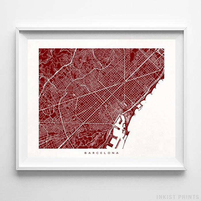 Barcelona, Spain Street Map Horizontal Print-Poster-Wall_Art-Home_Decor-Inkist_Prints