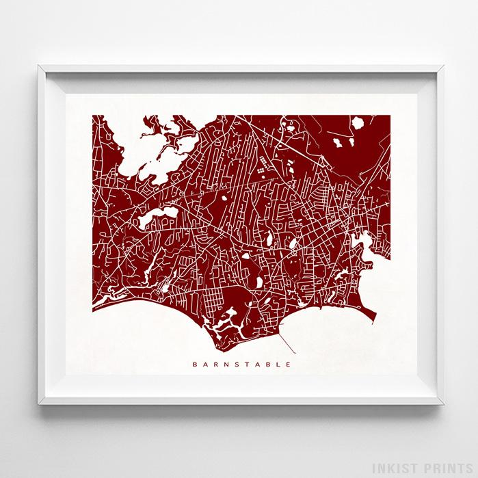 Barnstable, Massachusetts Street Map Horizontal Print-Poster-Wall_Art-Home_Decor-Inkist_Prints
