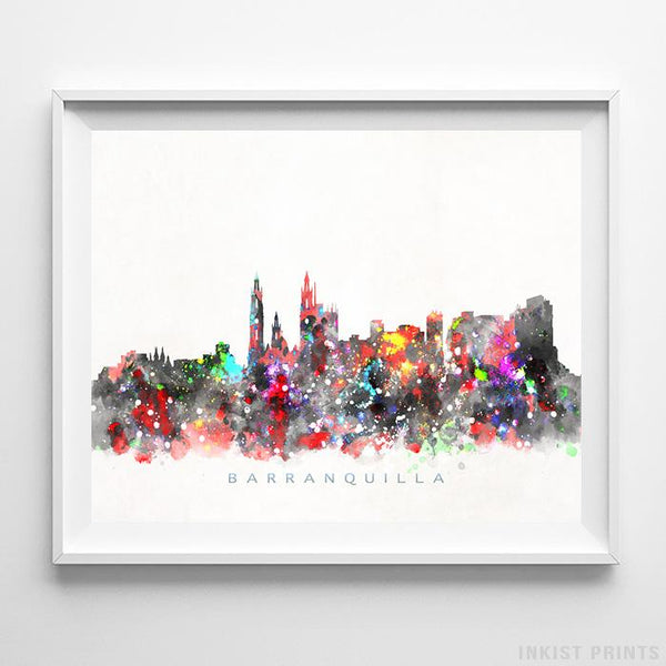 Barranquilla, Colombia Skyline Watercolor Print-Poster-Wall_Art-Home_Decor-Inkist_Prints