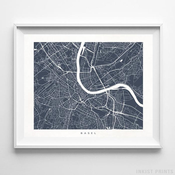 Basel, Switzerland Street Map Horizontal Print-Poster-Wall_Art-Home_Decor-Inkist_Prints