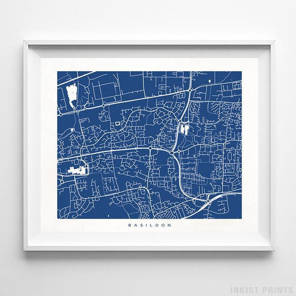 Basildon, England Street Map Horizontal Print-Poster-Wall_Art-Home_Decor-Inkist_Prints