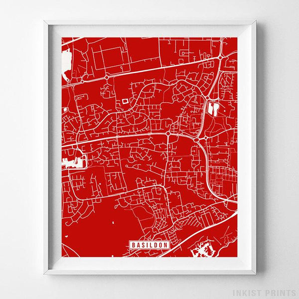 Basildon, England Street Map Vertical Print-Poster-Wall_Art-Home_Decor-Inkist_Prints