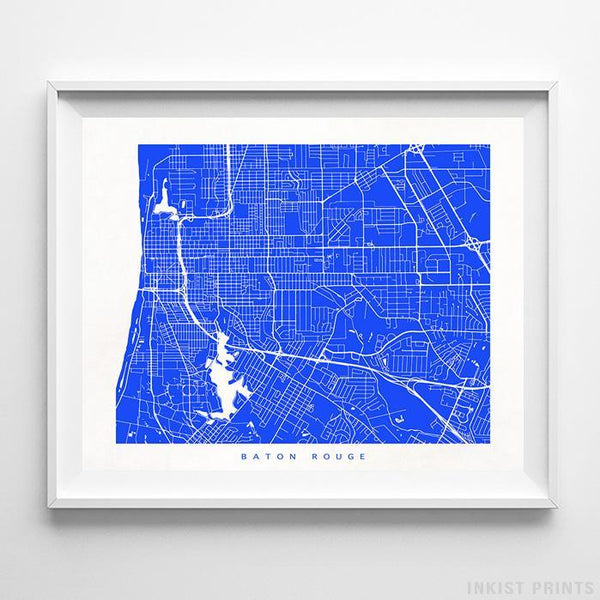 Baton Rouge, Louisiana Street Map Horizontal Print-Poster-Wall_Art-Home_Decor-Inkist_Prints