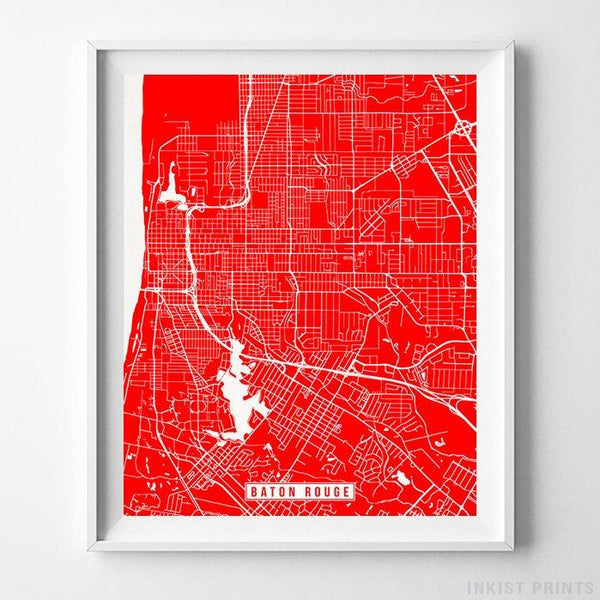 Baton Rouge, Louisiana Street Map Vertical Print-Poster-Wall_Art-Home_Decor-Inkist_Prints