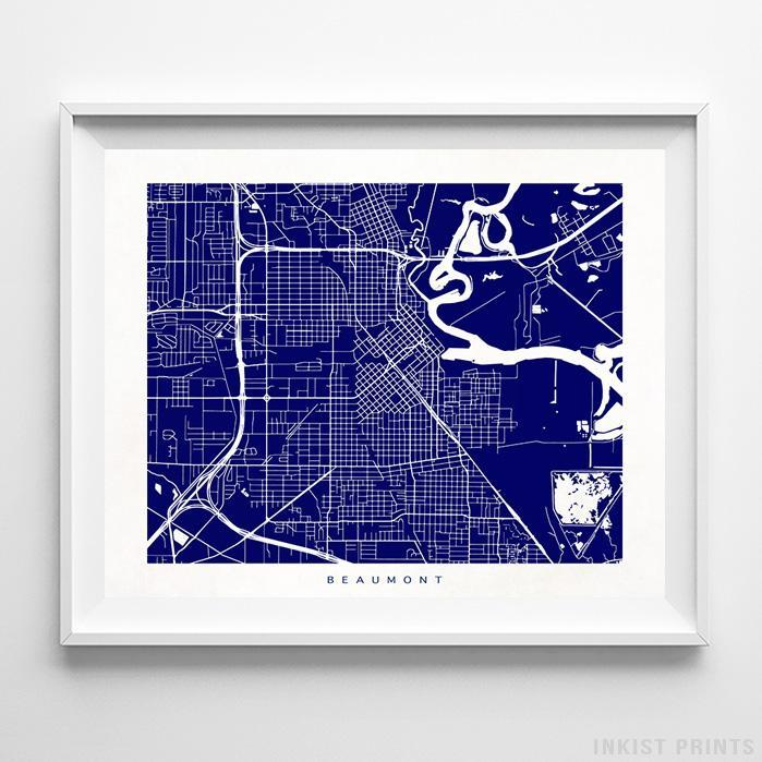 Beaumont, Texas Street Map Print Poster - Inkist Prints