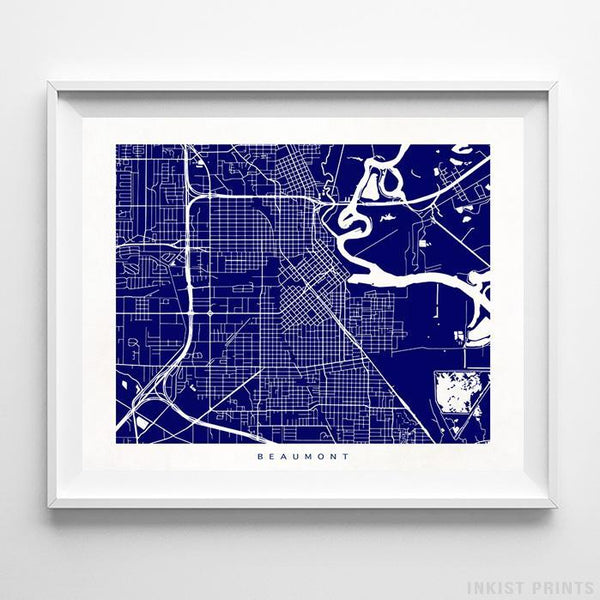 Beaumont, Texas Street Map Horizontal Print-Poster-Wall_Art-Home_Decor-Inkist_Prints