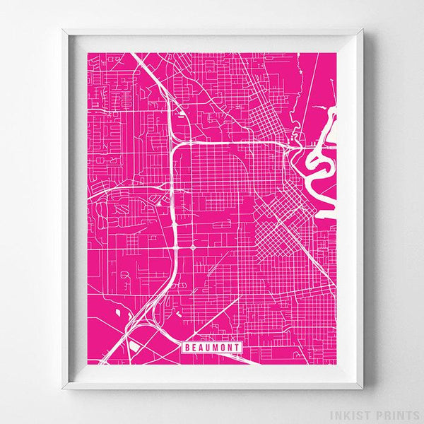 Beaumont, Texas Street Map Vertical Print-Poster-Wall_Art-Home_Decor-Inkist_Prints