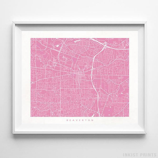 Beaverton, Oregon Street Map Horizontal Print-Poster-Wall_Art-Home_Decor-Inkist_Prints