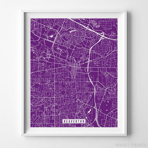 Beaverton, Oregon Street Map Vertical Print-Poster-Wall_Art-Home_Decor-Inkist_Prints