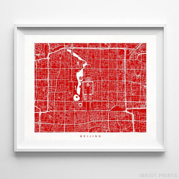 Beijing, China Street Map Print Poster - Inkist Prints