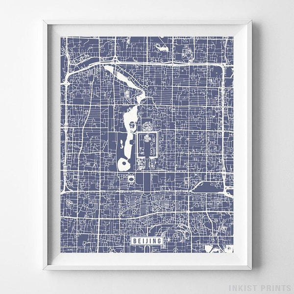 Beijing, China Street Map Vertical Print-Poster-Wall_Art-Home_Decor-Inkist_Prints