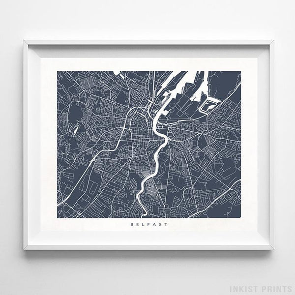 Belfast, Northern Ireland Street Map Horizontal Print-Poster-Wall_Art-Home_Decor-Inkist_Prints