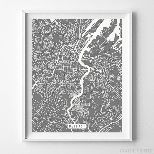 Belfast, Northern Ireland Street Map Vertical Print-Poster-Wall_Art-Home_Decor-Inkist_Prints