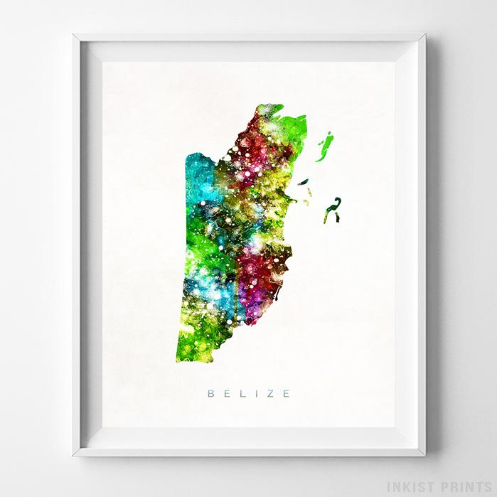 Belize Watercolor Map Print-Poster-Wall_Art-Home_Decor-Inkist_Prints