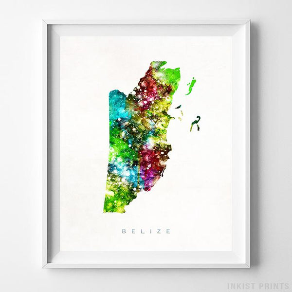 Belize Watercolor Map Print - Inkist Prints