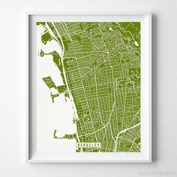 Berkeley, California Street Map Vertical Print-Poster-Wall_Art-Home_Decor-Inkist_Prints