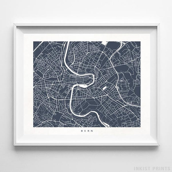 Bern, Switzerland Street Map Horizontal Print-Poster-Wall_Art-Home_Decor-Inkist_Prints