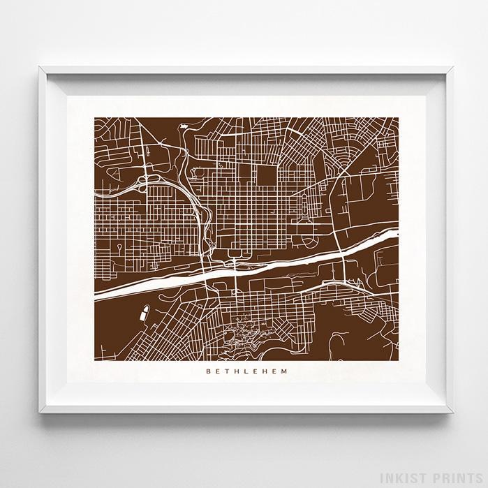 Bethlehem, Pennsylvania Street Map Horizontal Print-Poster-Wall_Art-Home_Decor-Inkist_Prints