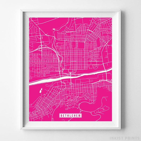 Bethlehem, Pennsylvania Street Map Vertical Print-Poster-Wall_Art-Home_Decor-Inkist_Prints